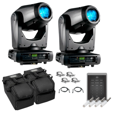 (2) American DJ Focus Spot Three Z 100W LED Moving Head Spots with Motorized Focus & Airstream IR Transmitters Package
