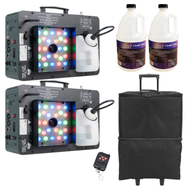 (2) American DJ Fog Fury Jett Pro Fog Machines with Quick Dissipating Fog Fluid and Carry Cases Package