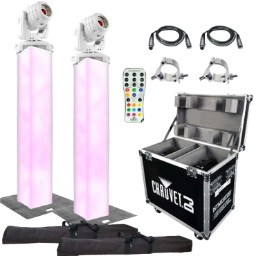 (2) Chauvet DJ Intimidator Spot 355 IRC Moving Heads in White with 5' Truss Lighting Towers & Intimidator Road Case S35X Package