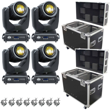 (4) ADJ Vizi Beam 5RX Moving Heads & Road Cases Package