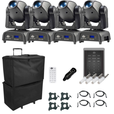 (4) American DJ Focus Spot One High Powered 35W LED Moving Heads with Motorized Focus Package