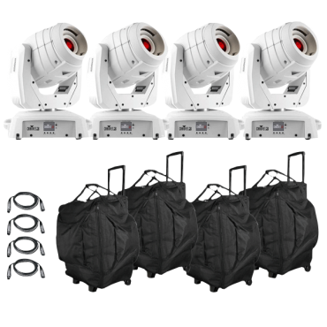 (4) Chauvet DJ Intimidator Spot 355 IRC feature Packed LED Moving Head in White Package