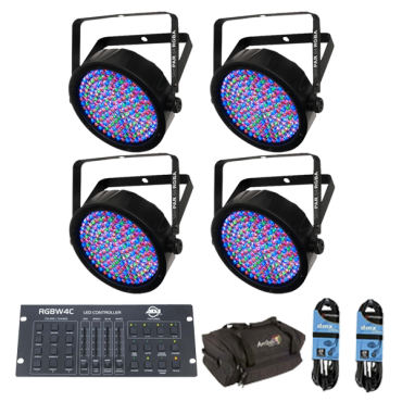 (4) Chauvet DJ SlimPAR 64 RGBA & ADJ RGBW4C Package