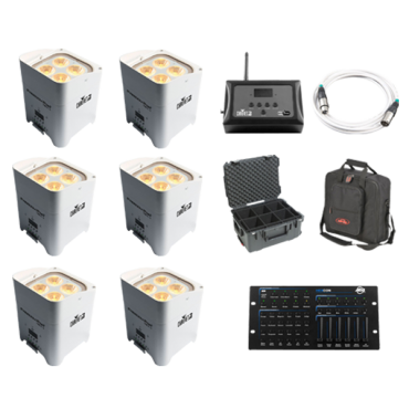 6x CHAUVET DJ Freedom Par Hex-4 White +D-Fi Hub +Controller +Case +Bag +White Cable