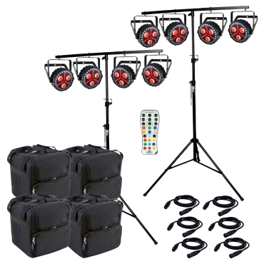 8 Chauvet FXpar 3 Compact Effect Par Lights with Stands, Remote & Cases Package