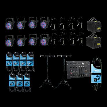 8x Chauvet SlimPAR 38 + Bags + Clamps + DMX Controller + Cables
