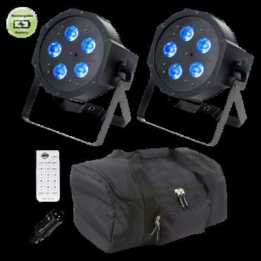(4) American DJ Mega QPlus Go Compact Rechargeable Low Profile Par Package