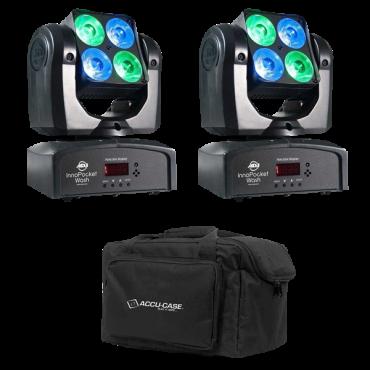 ADJ Pocket Wash Pak: 2x Inno Pocket Wash Quad LED Moving Heads with F4 Par Bag