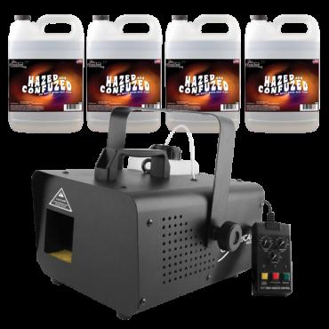 Chauvet DJ Hurricane Haze 1D Water Based Haze Fog Machine with 4 Gallons of Fog Fluid Package