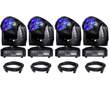 Eliminator Stealth Craze LED Moving Head Light 4-Pack with Cables