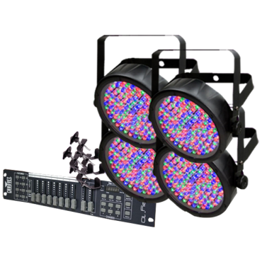 Chauvet Slim 64 Obey 10 Four Pack LED Par Can System with Controller and Clamps