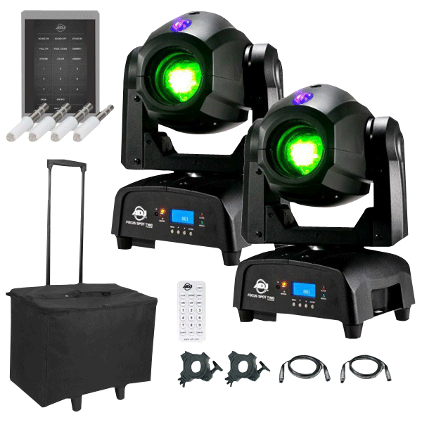 2 American Dj Focus Spot Two High Ed 75w Led Moving Head With Motorized Package