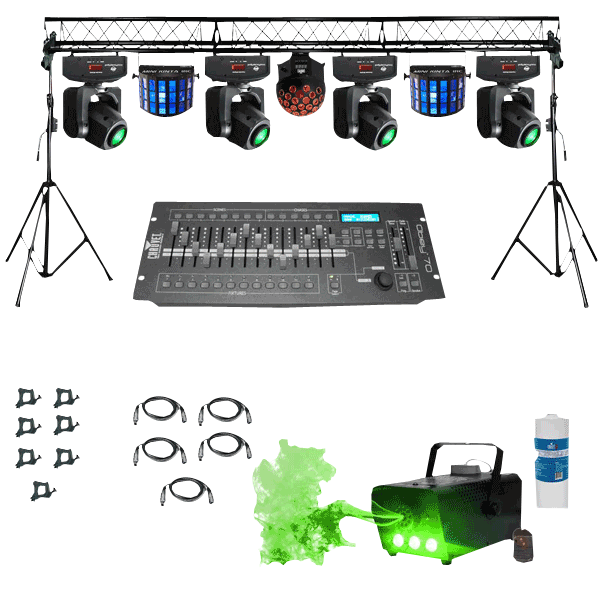 Prox Complete Portable Multi Size Lighting Truss System With 4x Chauvet Intimidator Spot 255 Moving Heads Effect Lights Package