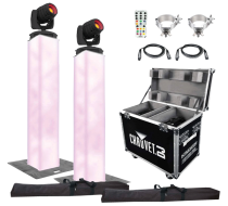 (2) Chauvet DJ Intimidator Spot 355 IRC Moving Heads with 6.5' Truss Lighting Towers & Intimidator Road Case S35X Package