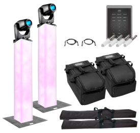 (2) American DJ Focus Spot Three Z 100W LED Moving Head Spots with 1.5m Truss Lighting Towers Package