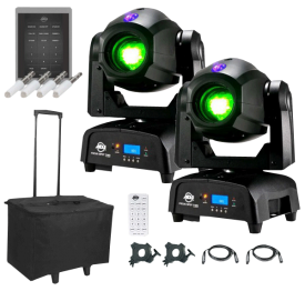 (2) American DJ Focus Spot Two High Powered 75W LED Moving Head with Motorized Focus Package