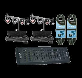 2x CHAUVET DJ 4BAR LT USB + Controller + Cables