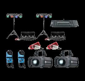2x CHAUVET DJ 4Bar Tri USB + Obey 40 D-Fi + D-Fi USB + Gobo Projector IR & Cables
