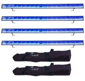 (4) American DJ ECO UV Bar DMX Black Lights & Cases Package
