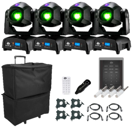 (4) American DJ Focus Spot Two High Powered 75W LED Moving Head with Motorized Focus Package