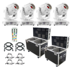 (4) Chauvet DJ Intimidator Spot 355 IRC Feature Packed Moving Heads in White & ProX Road Cases Package