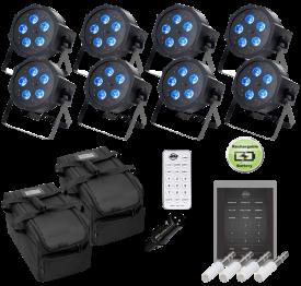 (8) American DJ Mega QPlus Go Compact Rechargeable Low Profile Par Package