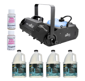 Chauvet DJ Hurricane 1800 Flex DMX Controllable Fog Machine with Variety Fog Juice Package