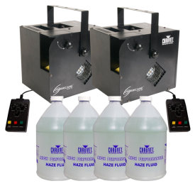 Chauvet DJ Hurricane Haze 2D Haze Machine & 4 Gallons of Hazer Fluid Bundle