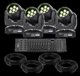 Eliminator Stealth Wash LED Moving Head 4-Pack Lighting System