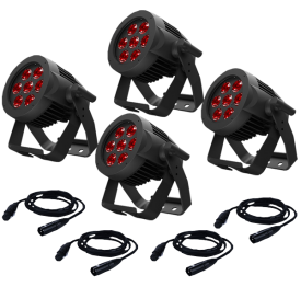American DJ 7P Hex IP RGBAW+UV IP65 Rated LED Par 4-Pack w/ IP Rated Cables