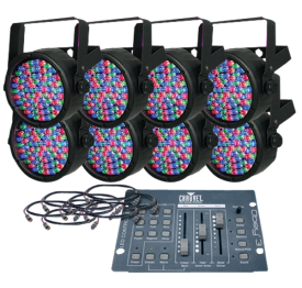Chauvet Slim 38 Obey 3 Pack LED Par Can System with Controller and Cables