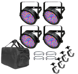 Chauvet SlimPar 64 Four Pack with Bag, Clamps and Cables