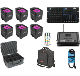 6x Chauvet Freedom Par Hex-4 + D-Fi Hub + Controller + Case + Bag + Cable