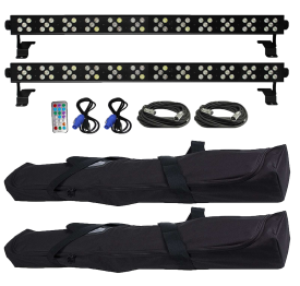 XStatic X-BAR60RGBWA-B IRC Dazzler RGBWA LED Uplights with Carry Cases Duo Package